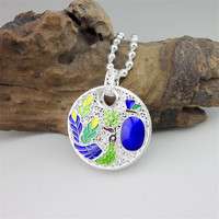 Big Round Peacock 999 Sterling Silver Pendant Wicca Necklace Women Blue Cloisonne Enamel Pendants Handmade Luxury Jewelry Ethnic