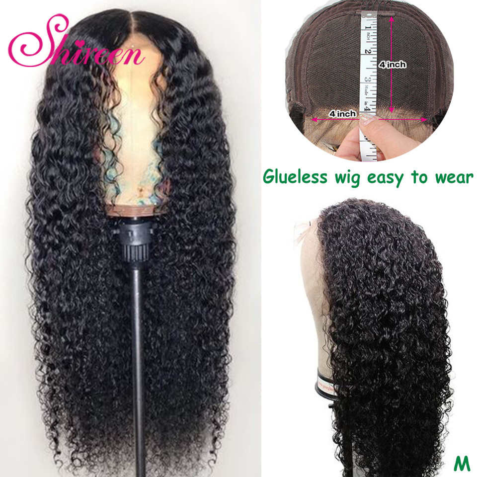 Shireen Kinky Curly Remy Hair Brazilian Human Hair Wigs 4x4 Lace Closure Culry Wigs Pre Plucked With Baby Hair For Black Women