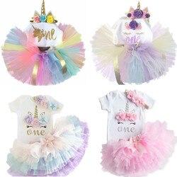 2020 bebê menina 1 ano vestido de aniversário unicórnio outfits verão crianças vestidos para a menina roupas 12 meses criança infantil festa vestir