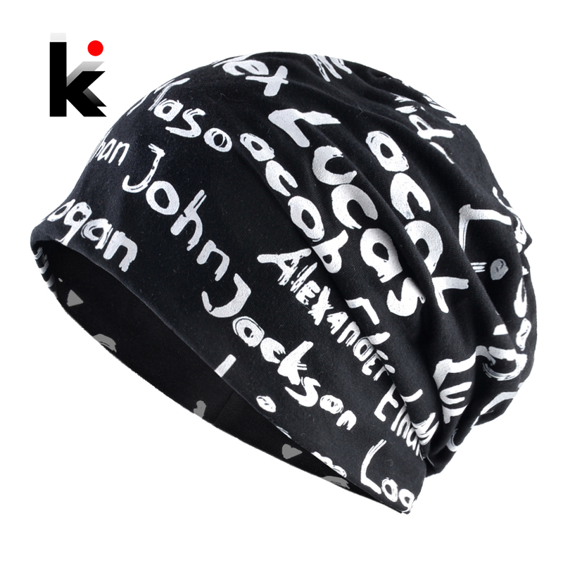 Women's Beanie Hat Spring Cotton Print Letter Hats For Men Autumn Bonnet Fashion Hip Hop Skullies Beanies Black Unisex Gorras