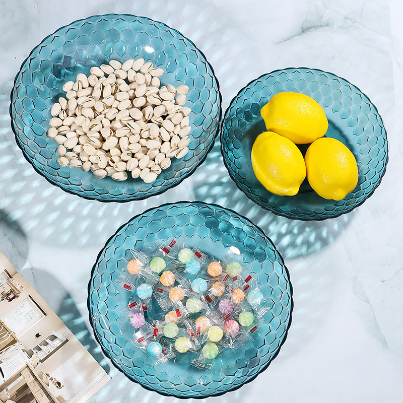 Plastic Resin Storage Tray Blue Rose Round Fruit Plate Fruit Tray For Home Living Room High Quality Tray Storage Supplies