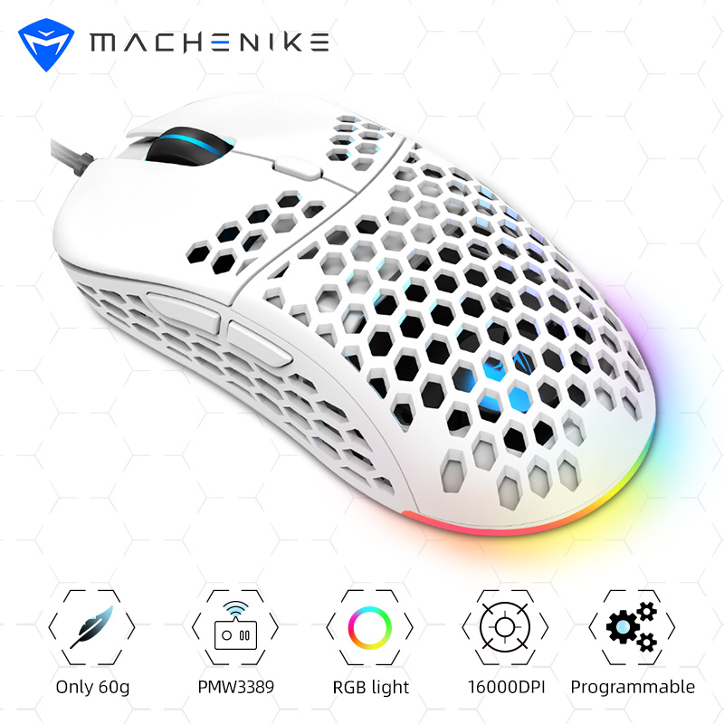 Machenike Gaming Mouse RGB PMW3389 Computer Mouse Gamer Gaming 16000DPI Programmable Adjustable PC Hollow Design 60g LED Light image