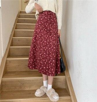 Corduroy Vintage Floral Print Ruffle Pleated Long Skirts Women Korean Skirt Streetwear Drawstring Elastic Waist Midi Skirt