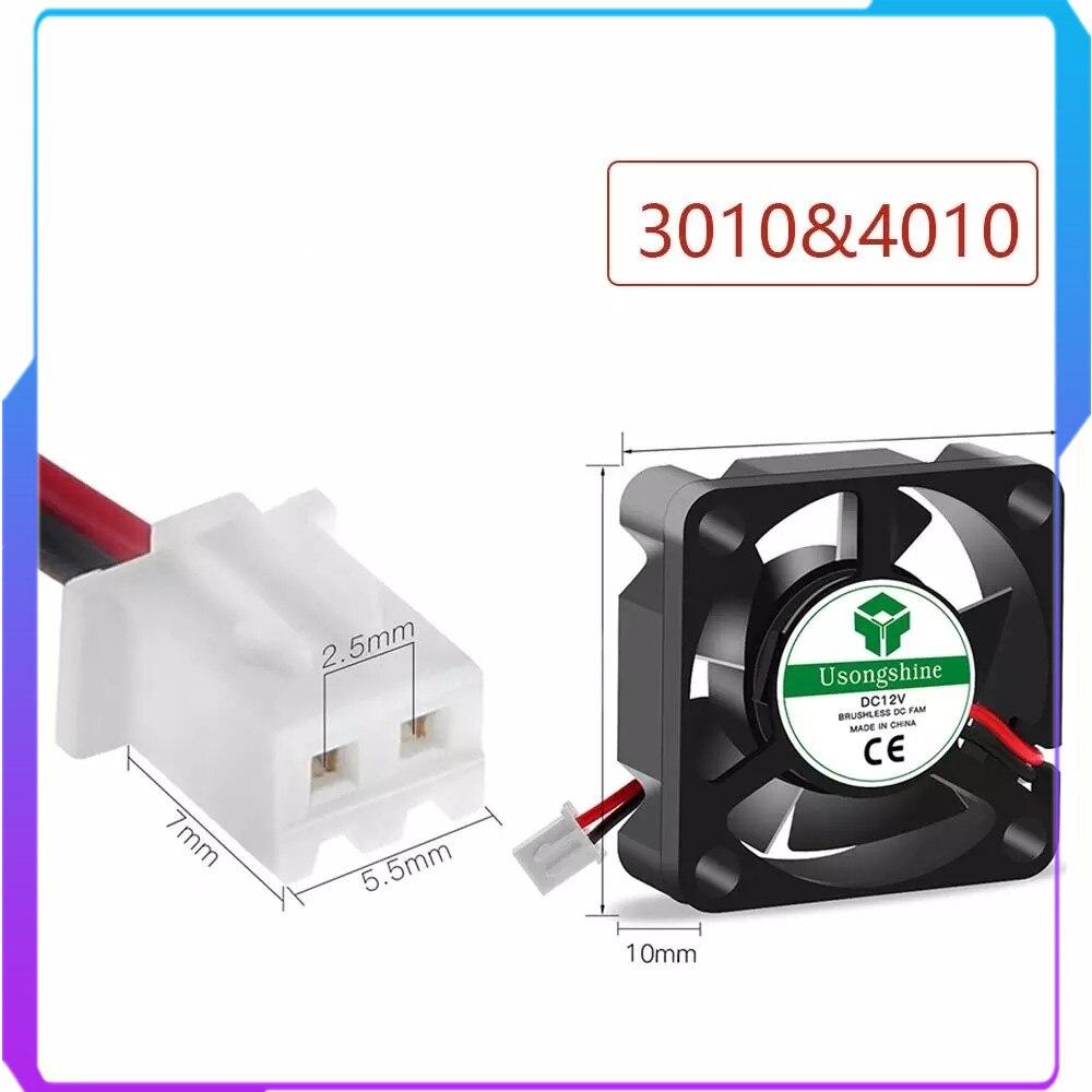 Бесщеточный мини-вентилятор для охлаждения 3D-принтера, DC 5 В, 12 В, 24 В, 3010, 4010, кабель 30*30/40*40*10 мм, 2 контакта, черный радиатор, запчасти Reprap