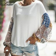 Xnxee Autumn Winter Women Long Sleeve Bohemian Knit Patchwork Blouse Casual O Neck High Low Ladies Loose Tops