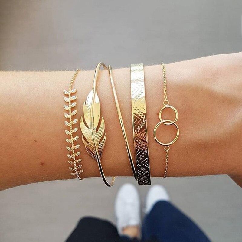 5 Teile/satz Gold Farbe Feder Kreis Legierung Armband Set Retro Böhmischen Geometrische Metall Armband Schmuck Geschenk