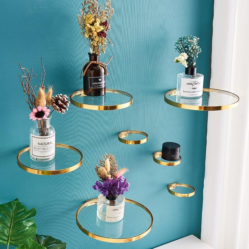 Glass Ledge Home Decor Shelf For Flowers Wall Shelves Decorative Simple Home Decoration Plant Flower Pot Rack Wall Shelf Crafts