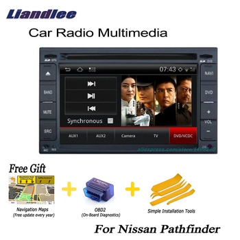 Liandlee 2 Din Car Android GPS Navi Navigation Maps Radio CD For Nissan Pathfinder 2006~2010 DVD Player Audio Video Stereo OBD2 image