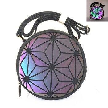 Fashion Brand luminous Women's shoulder bag Cute round geometric holographic bag for girls Party Crossbody bag ladies clutch 8