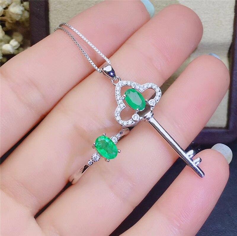 PROCOGEM 5A Natural Emerald jewelry sets for Women Lovely Key Fine Jewelery set Genuine Green Gemstones 925 Sterling silver #744 - 5