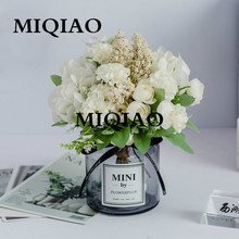 MIQIAO Glass bottle fake rose flower Gerbera Daisy artificial plastic flower for wedding