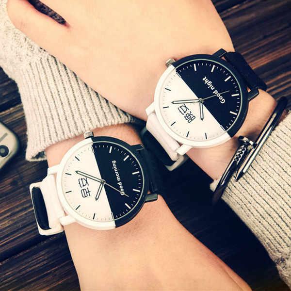 Carattere cinese Delle Signore di Modo Della Vigilanza di Stile Harajuku Nero Bianco Delle Donne Della Vigilanza Cinturino In Pelle Femminile Orologio Al Quarzo reloj mujer 2019