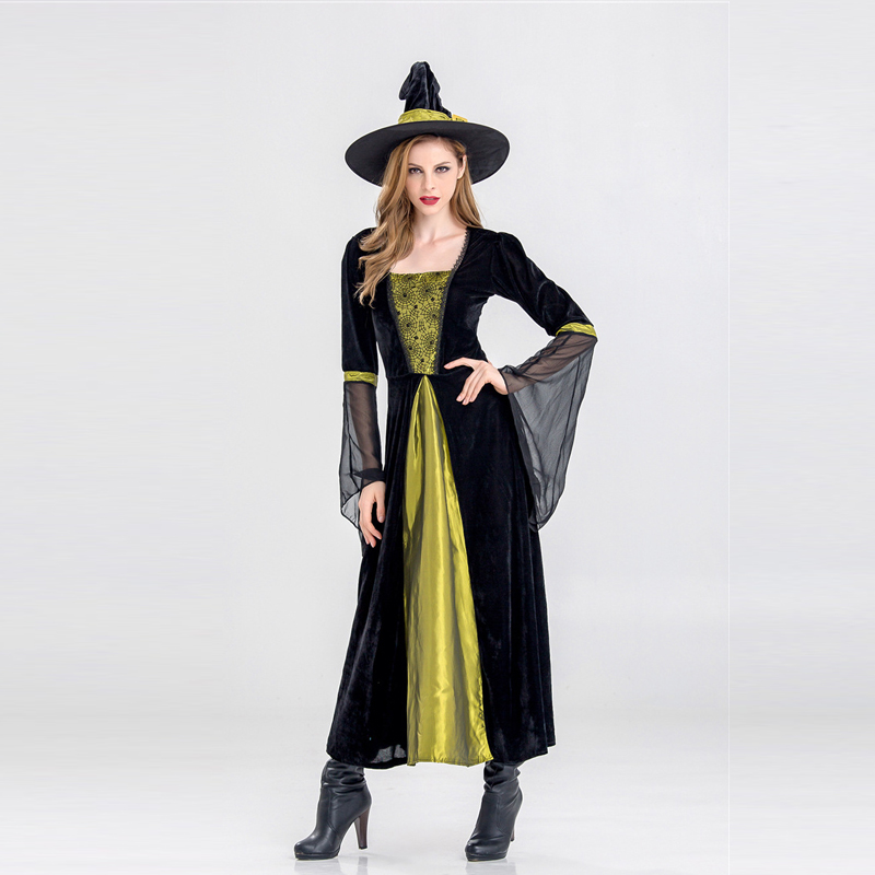 New Halloween Costume Witch Dress for Adults Play Cosplay Christmas