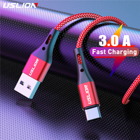 USLION 3A USB Tipo C Cavo Veloce Cavo di Ricarica per Samsung S9 S8 S10 Xiaomi mi9 mi8 Huawei Cassa Del Telefono Mobile USB C Cavo del Caricatore 2m 3m
