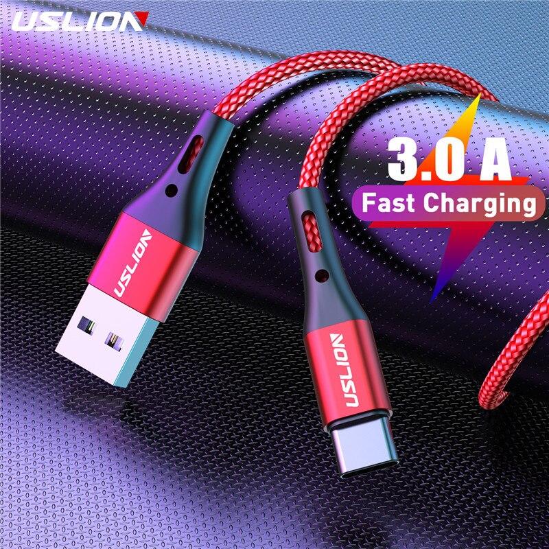 USLION 3A USB Type C câble fil de charge rapide pour Samsung S9 S8 S10 Xiaomi mi9 mi8 Huawei téléphone portable USB C chargeur câble 2m 3m