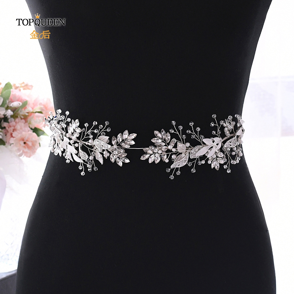 TOPQUEEN SH272 Bridal Flower Belt Wedding Dress Belt Sparkly Belts For Women Prom Dress Belt Sliver Diamond Belts For Women