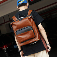 Vintage Crazy Horse PU Leather Men Backpack Korean Fashion Outdoor Travel Bag Perfect Quality COOL Students School Bag