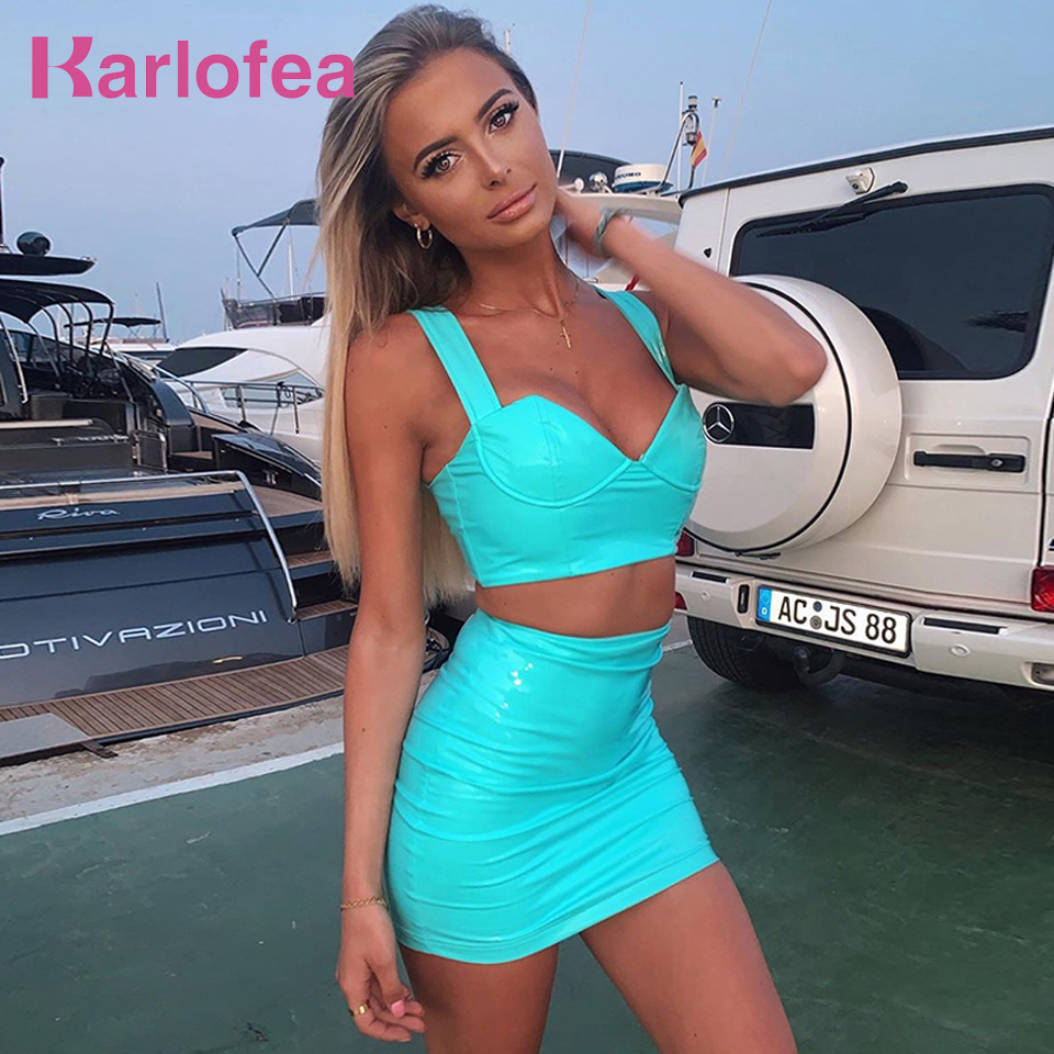 Karlofea Two Piece Set Women Autumn PU Leather Cropped Top And Mini Skirt Outfits Casual Matching Sets Lady Club Night Partywear