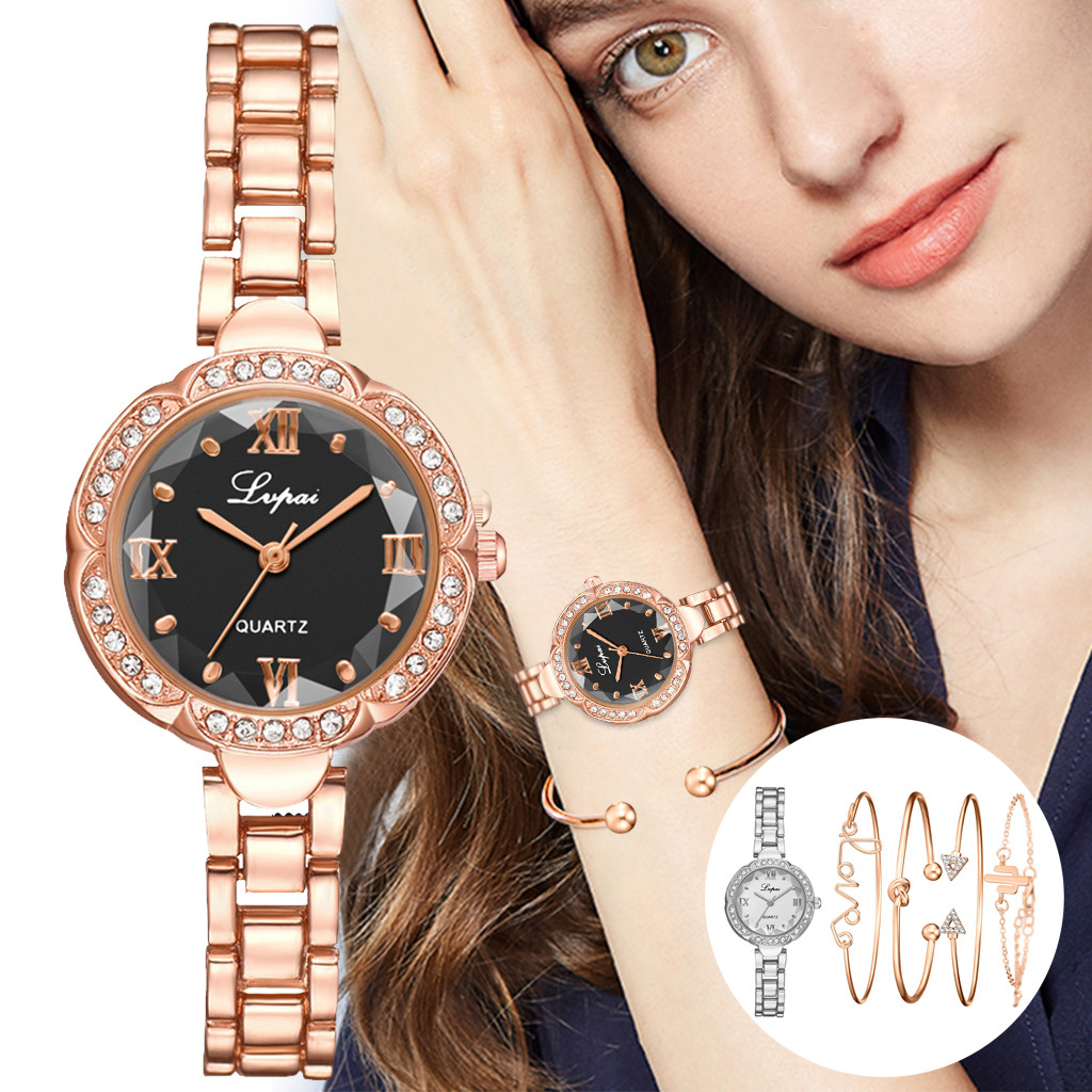 5pcs Fashion Starry Sky Women Watches Luxury Watch Rose Gold Ladies Bracelet Watch Wristwatches Female Clock Montres Femmes