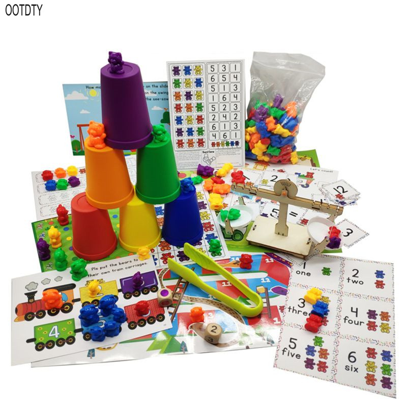 Perfect Counting Bears With Stacking Cups Set - Montessori Rainbow Matching Game, Educational Color Sorting Toys For Toddlers Ba