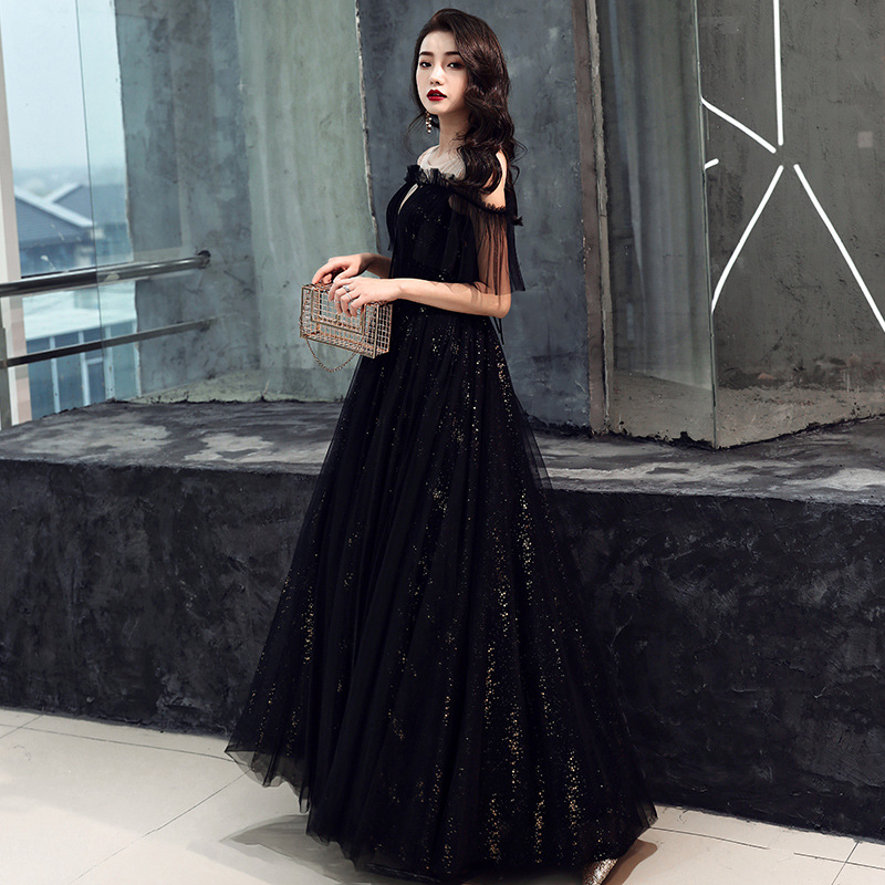 Exquisite Ribbon Off Shoulder Robe De Soiree Evening Party Dress Elegant Women Mesh Qiapo Ball Gown Dress Sexy Cheongsam
