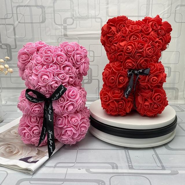 2019 ใหม่ 25/40 ซม.หัวใจสีแดง Teddi Bear Rose ดอกไม้ประดิษฐ์ดอกไม้ตกแต่งของขวัญคริสต์มาสของขวัญวาเลนไทน์