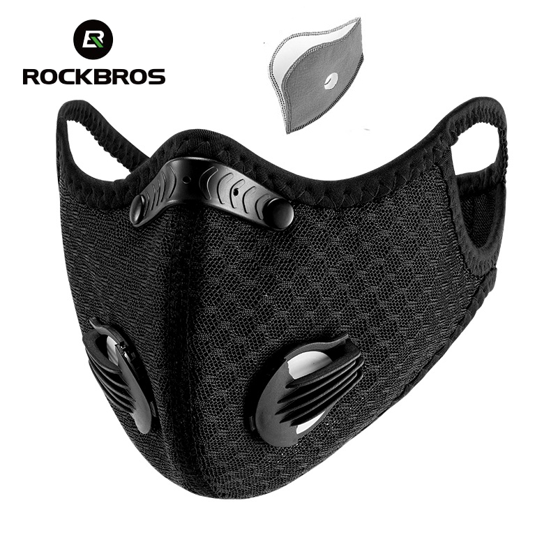 ROCKBROS KN95 Cycling Face Mask Active Carbon Filter Mask Bicycle Breathable Sports Dustproof Anit-fog Protective Mask Running