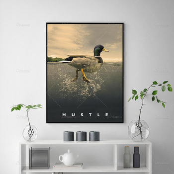 HUSTLE Duck Quote Wall Art Prints Posters Entrepreneur Mindset Is Everything Bedroom Decoration Canvas Painting Frame Cuadros image
