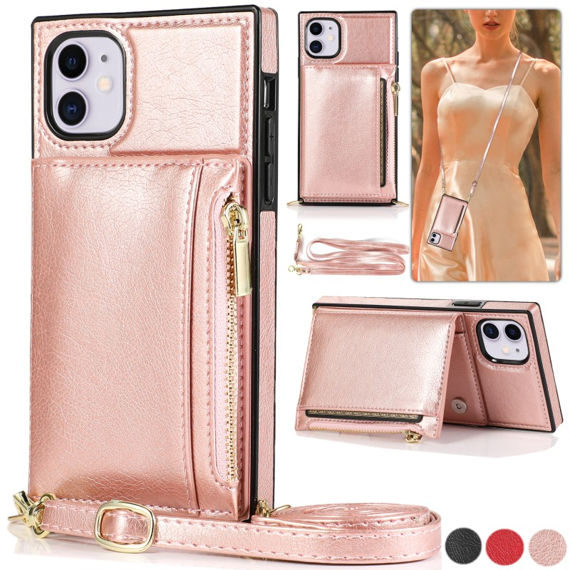Leather Wallet Case For iPhone 6 6S 7 8 Plus 11 Pro Max 12 Mini 12 Pro Max SE 2020 X XR XS Max With Lanyard Case Cover