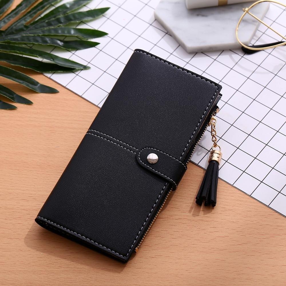2020 Tassel Wallet Ladies Long Simple Leather Wallet Tassel Female Zipper Wallet Multi Card Holder Card Holder Ladies Clutch