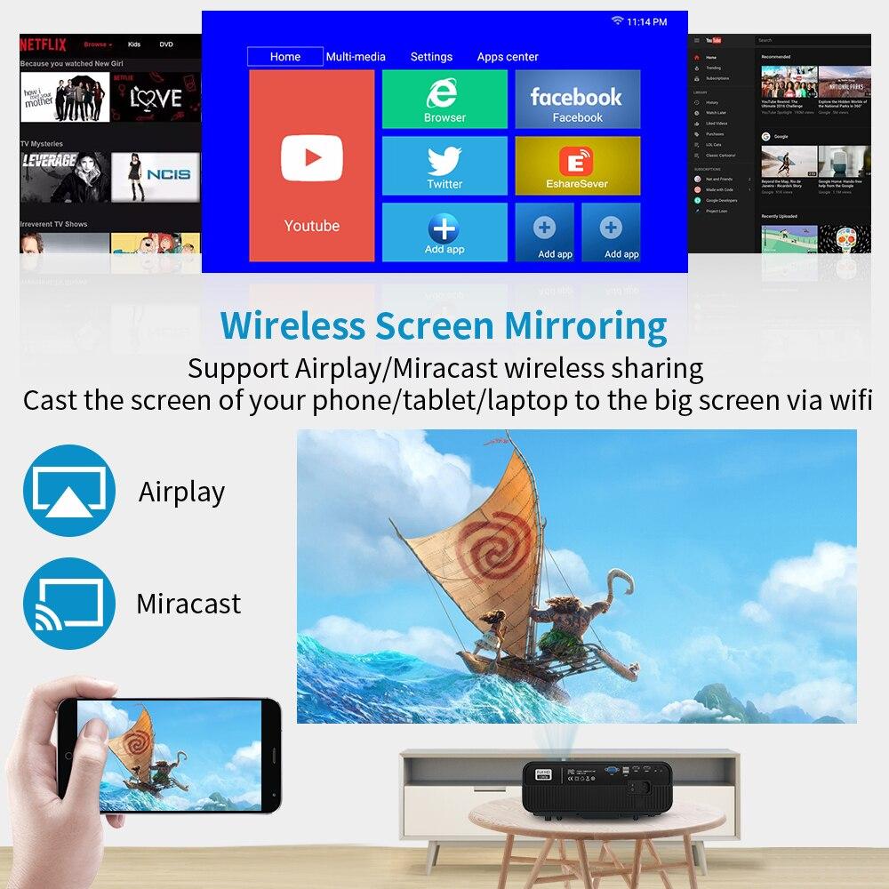 Caiwei completo hd projetor a12 1920x1080p android 6.0 (2g + 16g) wifi led mini projetor de cinema em casa hdmi 3d vídeo beamer para 4k-1