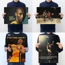 Póster de papel kraft clásico AIMEER, personaje de estrella de baloncesto Kobe jordan, Decoración retro Para el hogar, pegatinas de pared 51*35cm