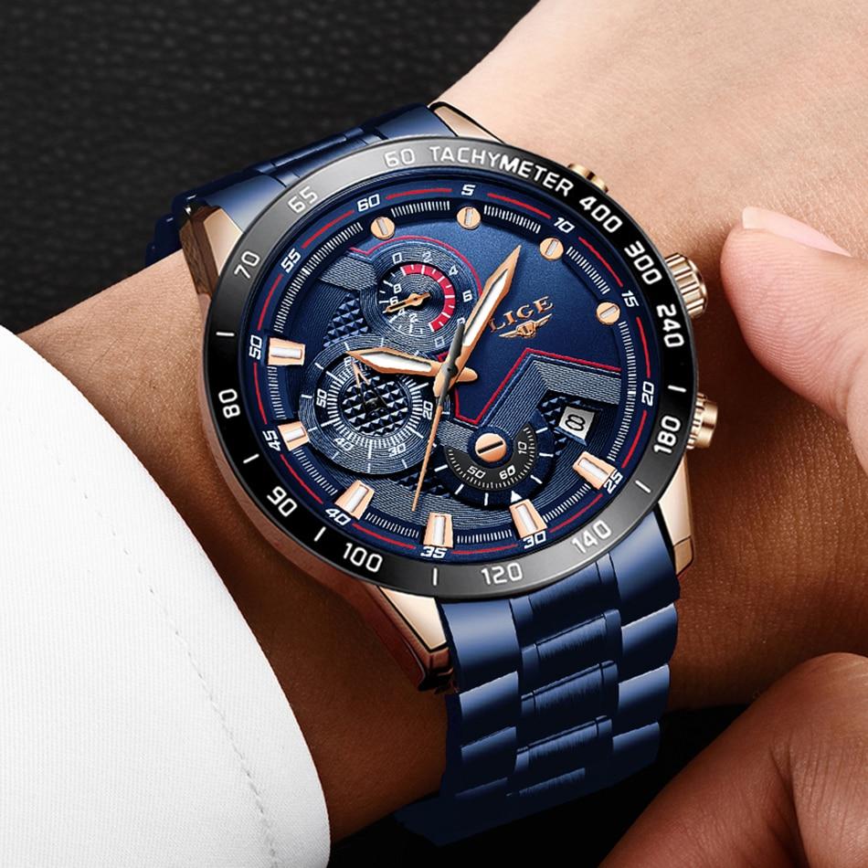 H3b6bccff182e4700ab0bc544daacf0482 LIGE Men Watches Top Brand Luxury Stainless Steel Blue Waterproof Quartz Watch Men Fashion Chronograph Male Sport Military Watch