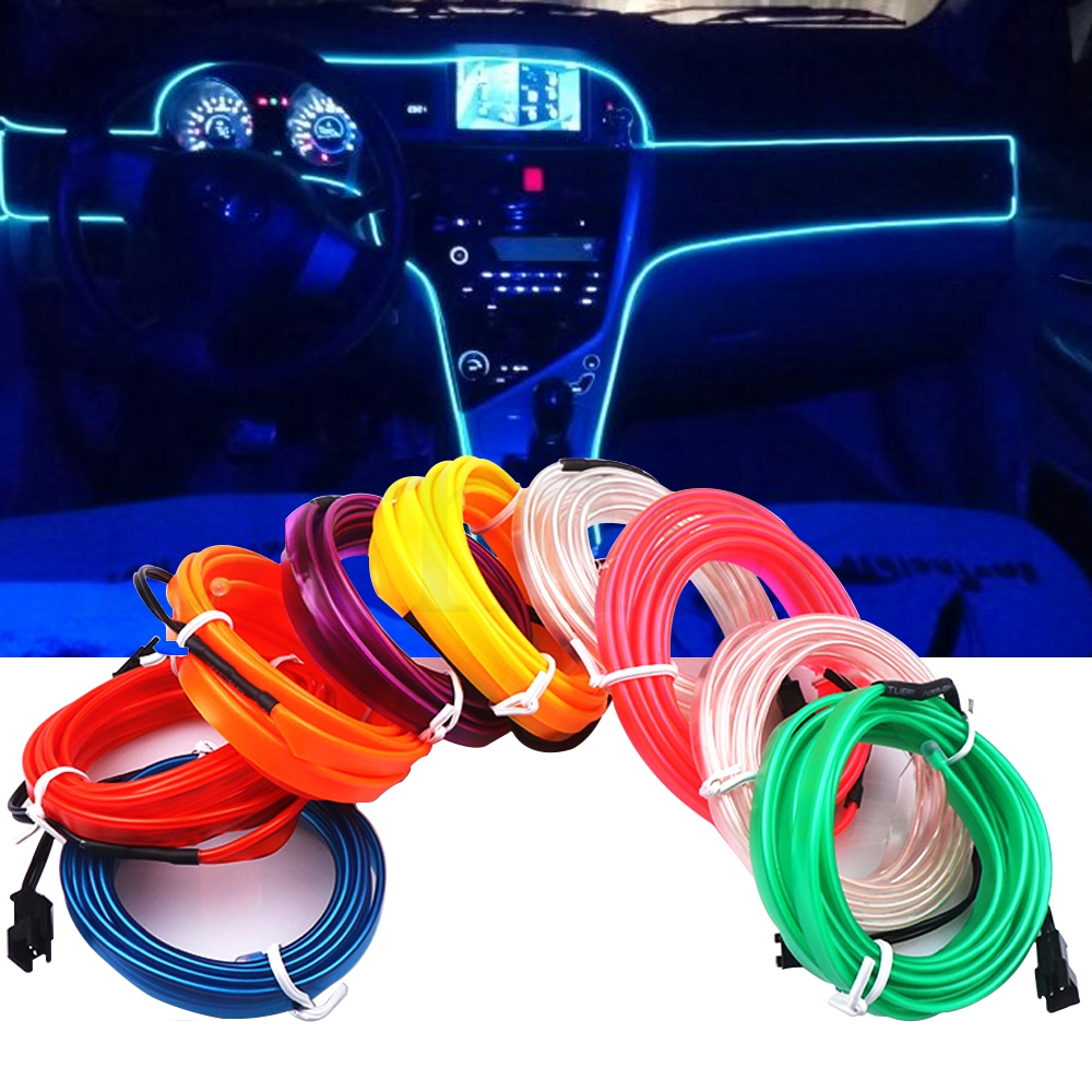 1M/2M/3M/5M Car Interior Lighting Auto LED Strip Wire Rope Tube Line flexible Neon Light With 12V <font><b>USB</b></font> Cigarette Drive image