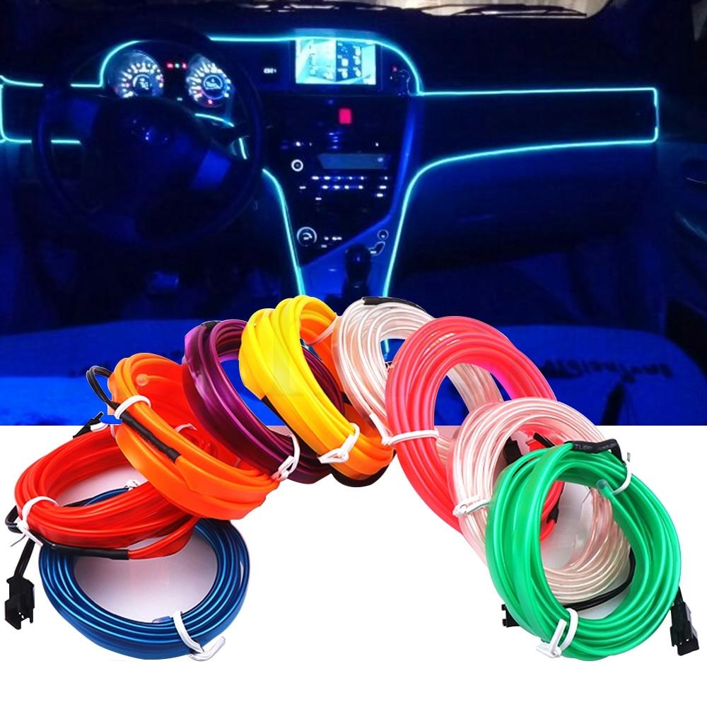 1M/2M/3M/5M Car Interior Lighting Auto LED Strip Wire Rope Tube Line Flexible Neon Light With 12V USB Cigarette Drive