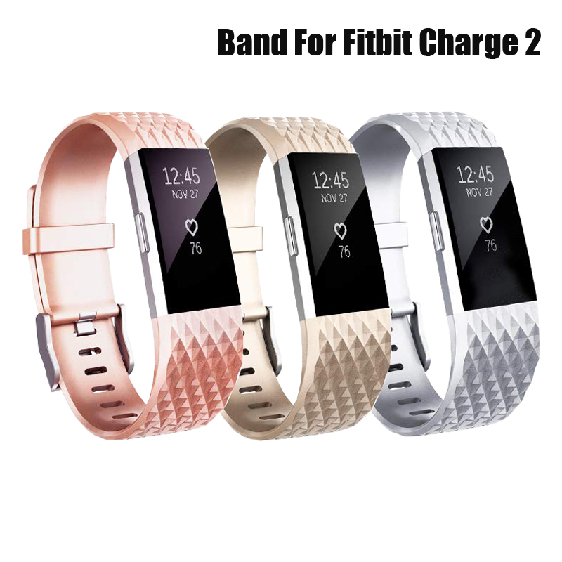 Smart Watch Strap For Fitbit Charge 2 Correa Rose Gold / Silver Band Silicone Wrist Replacment Bracelet For Fitbit Charge 2