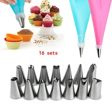16 Pcs/Set Silicone Icing Piping Cream Confectionery Bag Stainless Steel Nozzle Tips Cake Decorating Tools