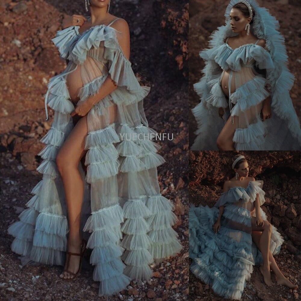 Woman Illusion Robe Loungewear  Perspective Sheer Photography Maternity Dress Bathrobe Pajamas Bridal Sleepwear Plus Size