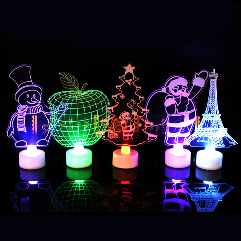 New 3D LED Night Light For Kids Children Home Room Decor Colorful Flash Table Lamp Eiffel Tower Santa Claus Christmas Decoration