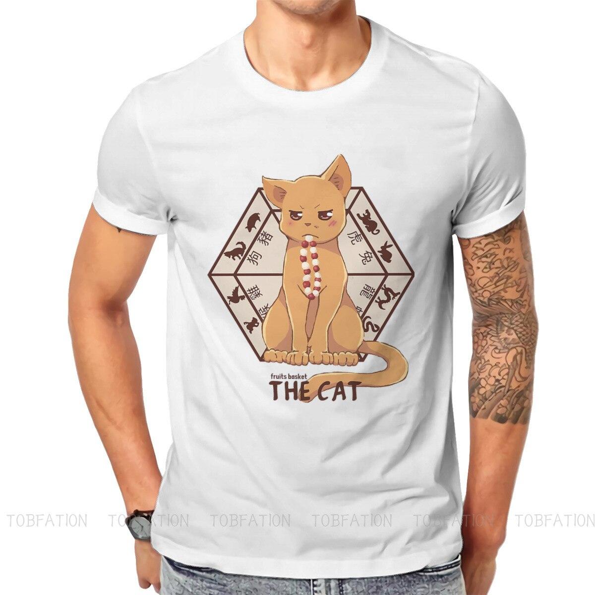 Мужская футболка с коротким рукавом Kyo, Винтажная Футболка большого размера с круглым вырезом, принтом в виде кошки, фруктов, корзины и знако...