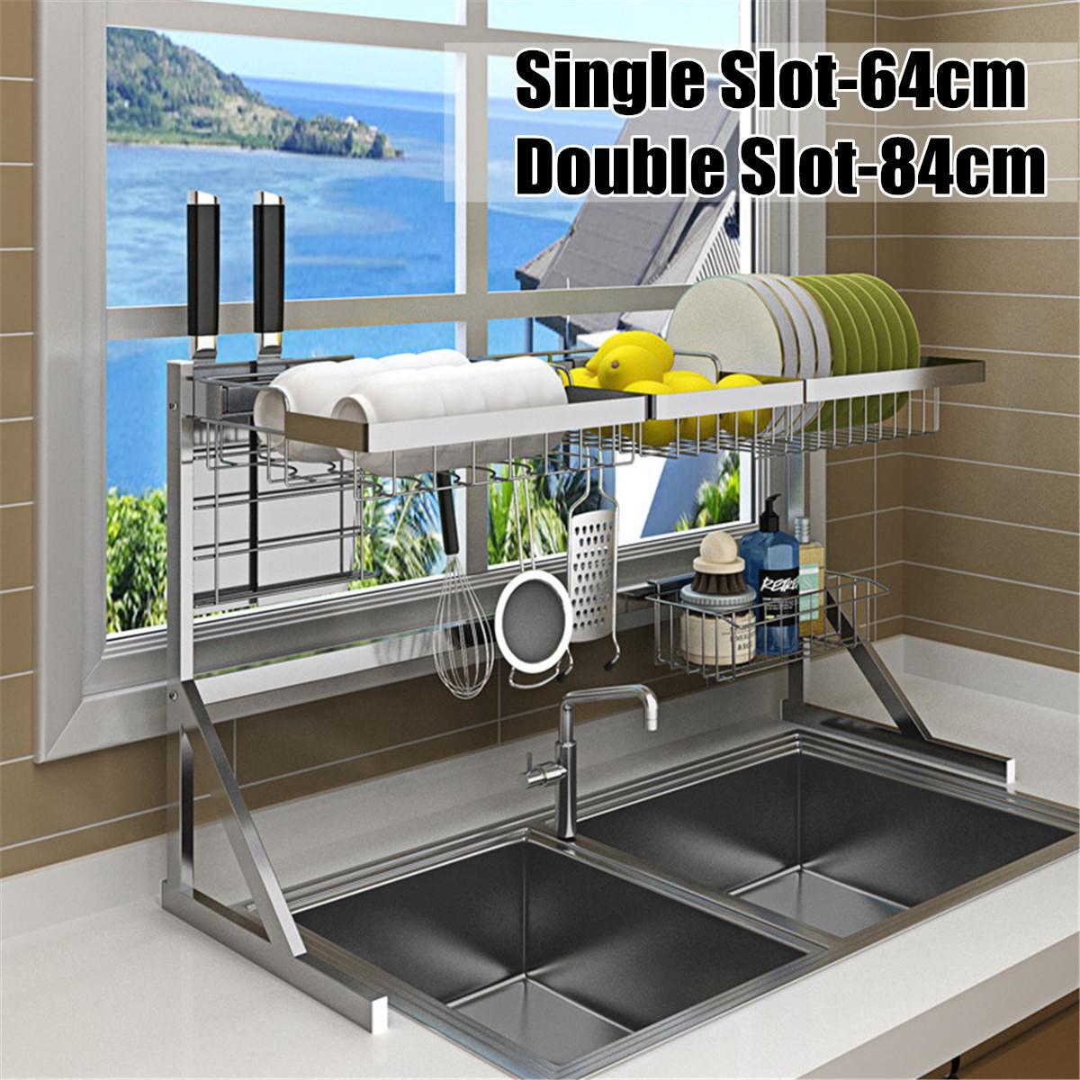 64/84cm 2019 nouveau 304 en acier inoxydable cuisine plat support U forme évier égouttoir deux couches cuisine organisateur étagère support de stockage