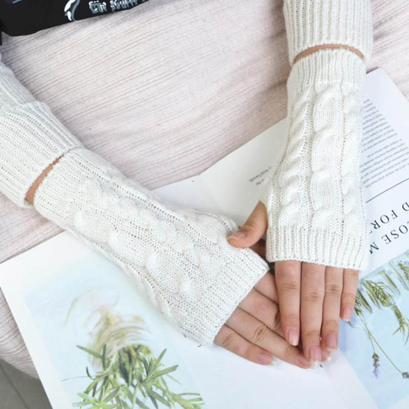 Calymel Unisex Autumn And Winter Sleeves Half Finger Wool Warm Knit Gloves Sleeve Arm Sleeves 8 Colors