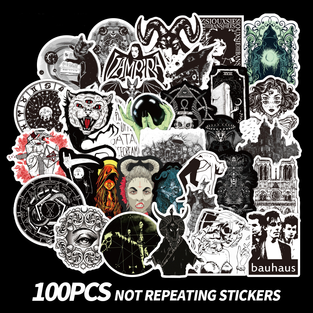 50/100pcs Goth Gothic Stickers For Notebooks Motorcycle Helmet Beach Trolley Bike Black White Craft Supplies Stickers Vintage