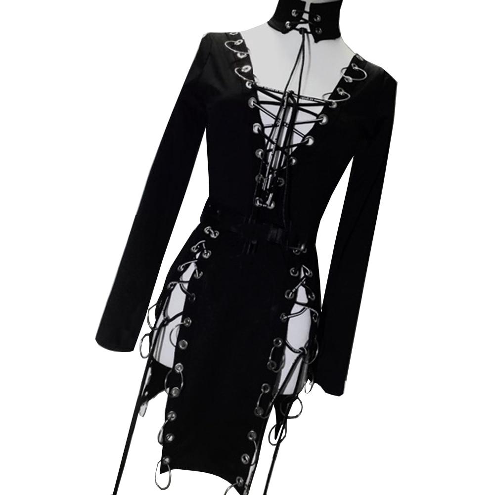 Womens Black Punk Choker Gothic Dresses Clothing Punk Rock Clothing  Harajuku Dress Women Style Clothing Vintage Bodycon Dress