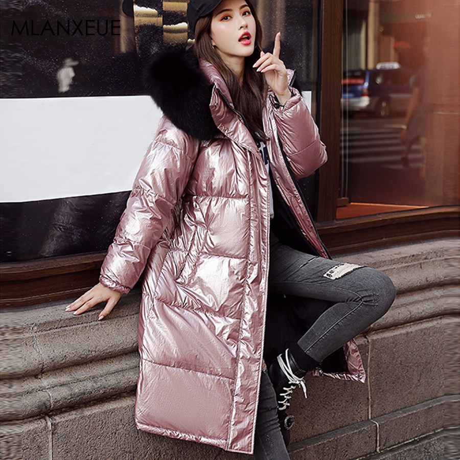 Fur Hooded  Zipper Long Down Coats Women Harajuku Loose Women'S Reflective Jackets Thicken Plus Size Coat Female Glossy Outwears