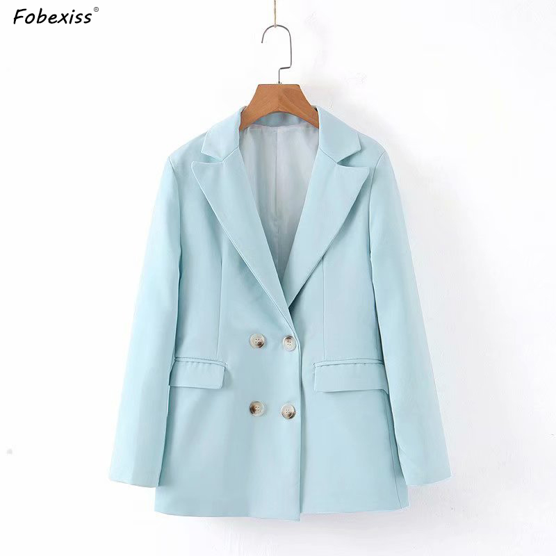 Blue Blazers Long Sleeve Autumn Women Double Breasted Pocket Elegant Plus Size Slim Waist Women Orange Blazers and Jacket