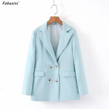 Blue Blazers Long Sleeve Autumn Women Double Breasted Pocket Elegant Plus Size Slim Waist Orange and Jacket