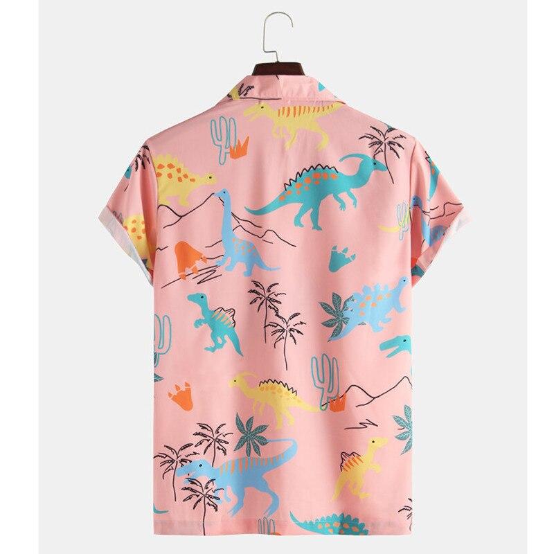 2020 Fashion Hawaiian Shirt Mens Funny Style Dinosaur Cartoon Printed Short Sleeve Pink Shirts Men Korean Clothes 2