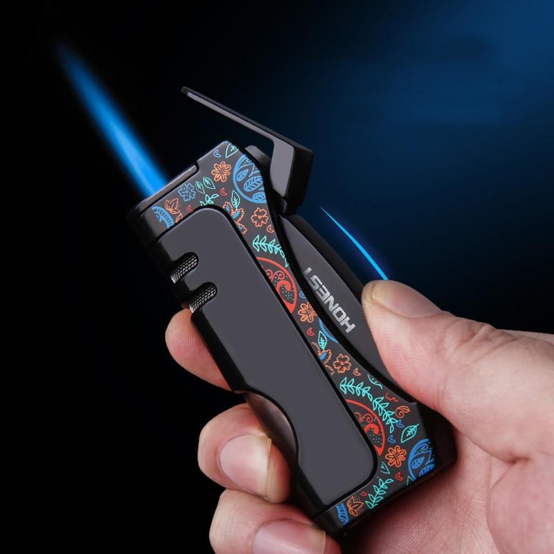 HONEST Turbo Lighters Torch Lighter Butane Metal Gas Lighter Cigarette Lighters Cigar Smoking Accessories Gadgets for Men