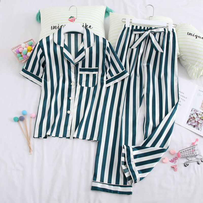 Lisacmvpnel Spring New Short Sleeve Satin Women Pajamas Stripe Fashion Sleepwear